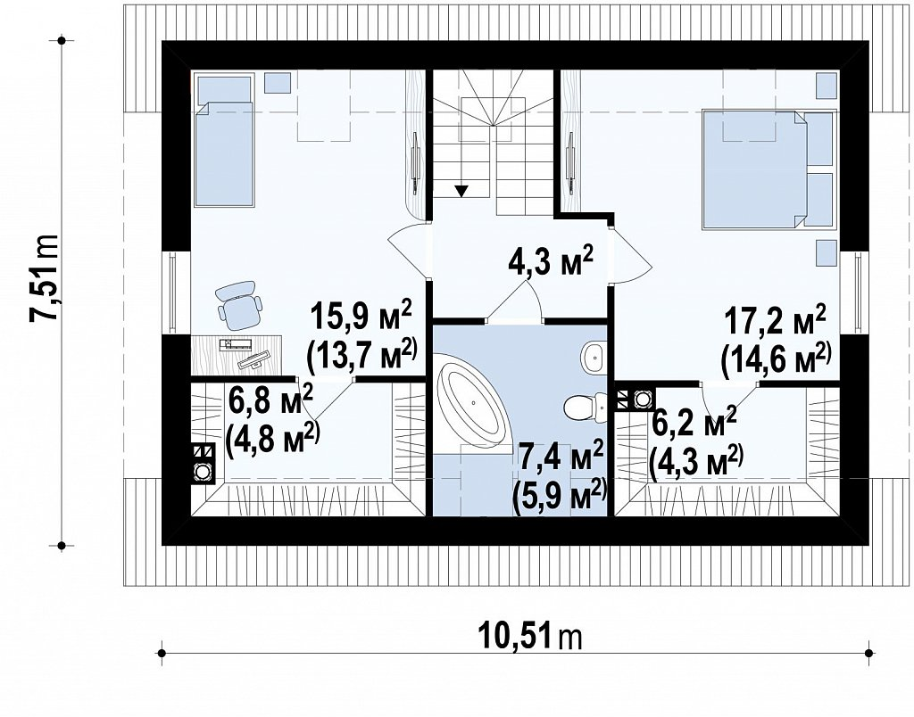 Практичный дом для небольшого участка, простой в строительстве, дешевый в эксплуатации. план помещений 2
