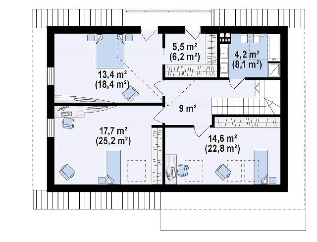 Аккуратный мансардный коттедж с гостевой спальней на первом этаже план помещений 2