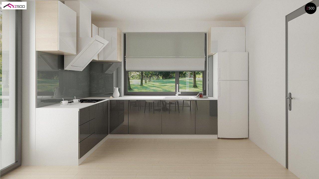 Проект одноэтажного дома Z390 с гаражом на 1 машину и красивым белым фасадом 12