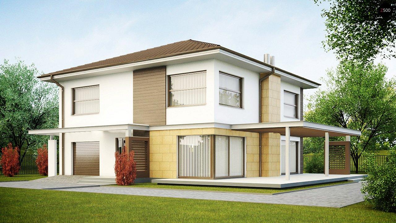 Двухэтажный дом простой формы со вторым светом над гостиной и встроенным гаражом. - фото 1