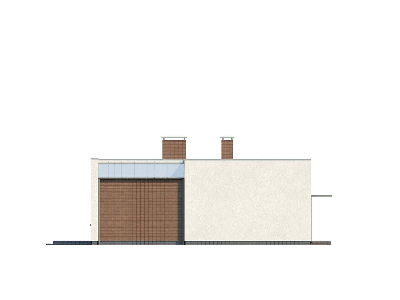 Одноэтажный дом с плоской крышей, со светлым функциональным интерьером и гаражом. 6