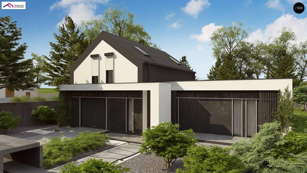 Проект дома с мансардой в европейском стиле с гаражом на одно авто. - фото 1