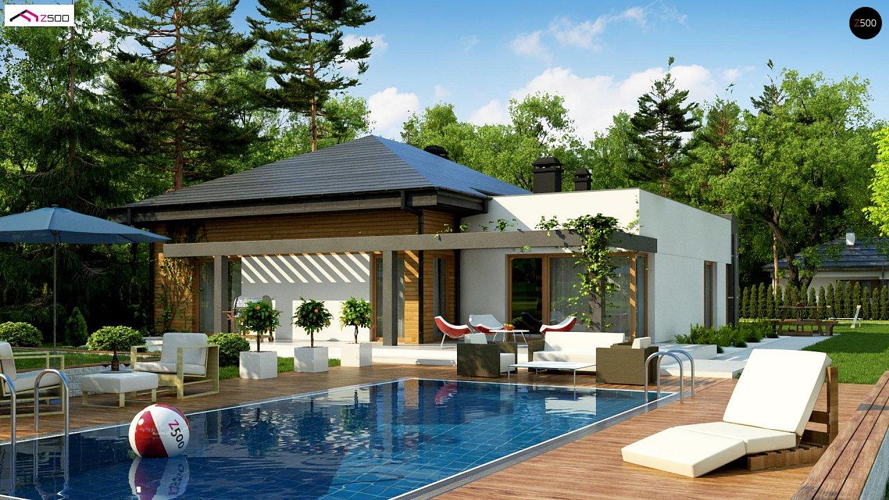 Современный дом с остроконечной крышей бунгало 1