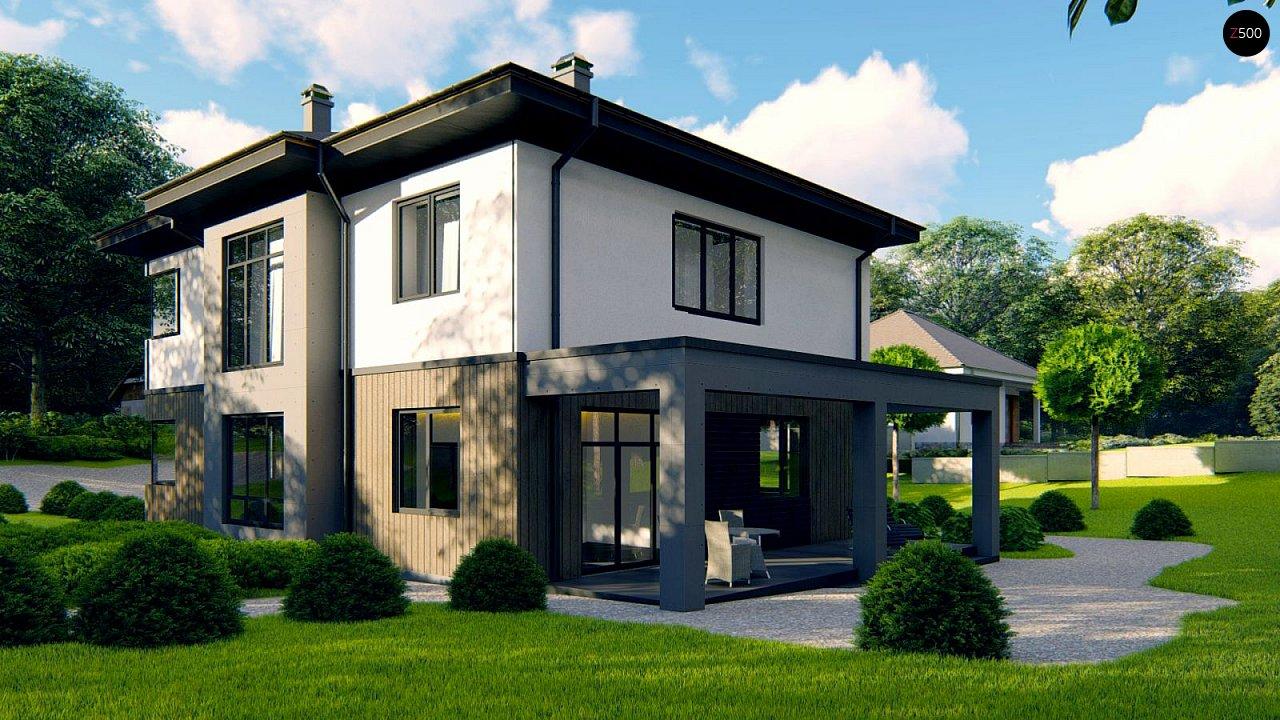 Проект двухэтажного просторного дома с панорамными окнами и камином. 4