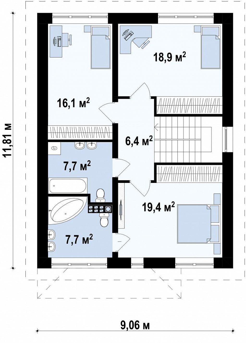 Версия двухэтажного дома Zx24a с измененной планировкой план помещений 2