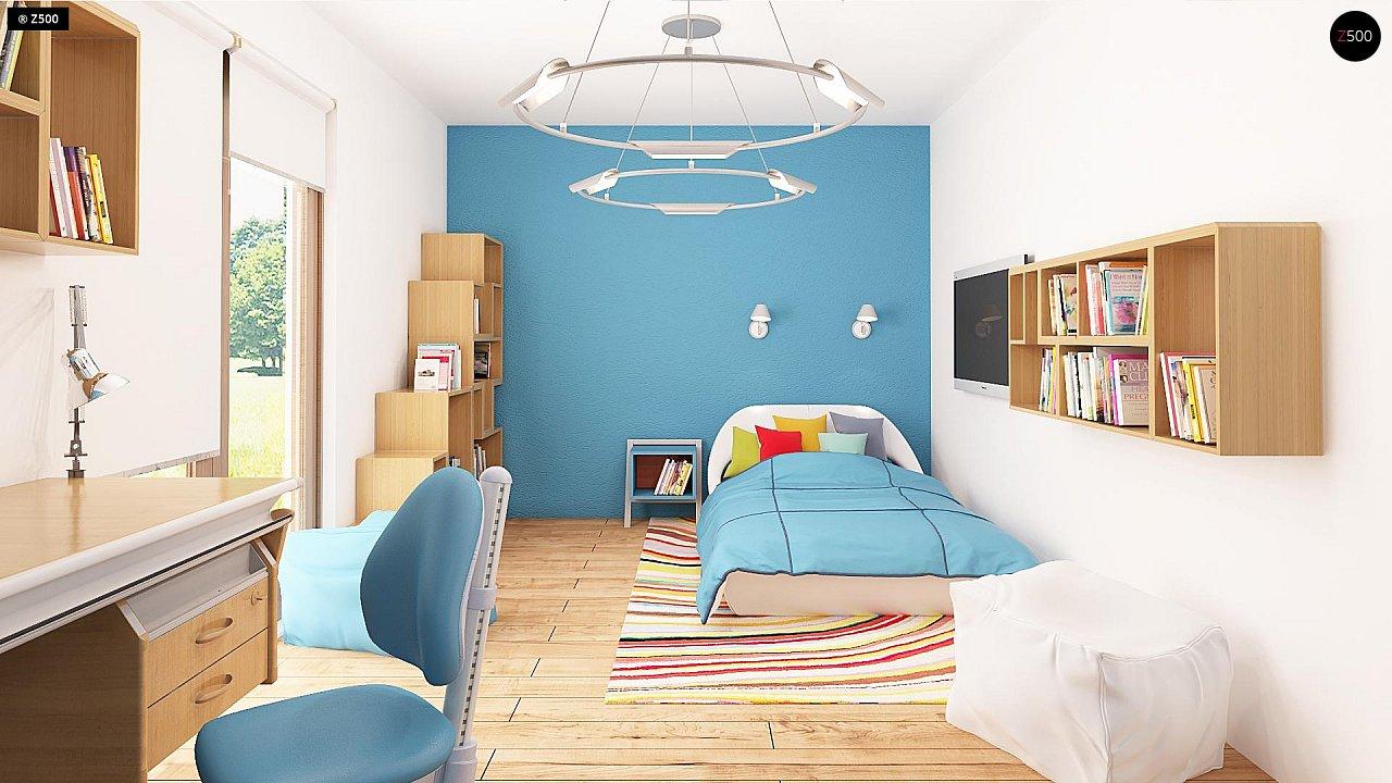 Проект одноэтажного дома с фронтальным выступающим гаражом и возможностью обустройства мансарды. 8