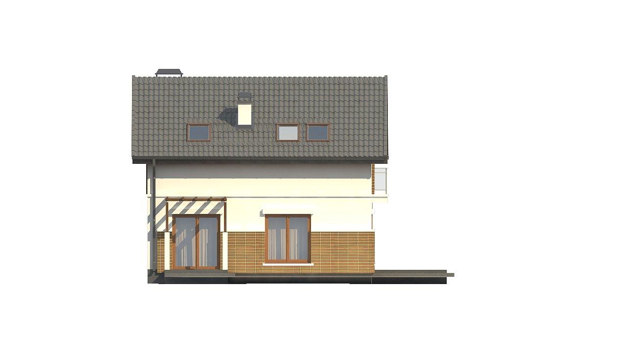 Проект дома с мансардой, с высокой аттиковой стеной, с дополнительной комнатой на первом этаже. 8