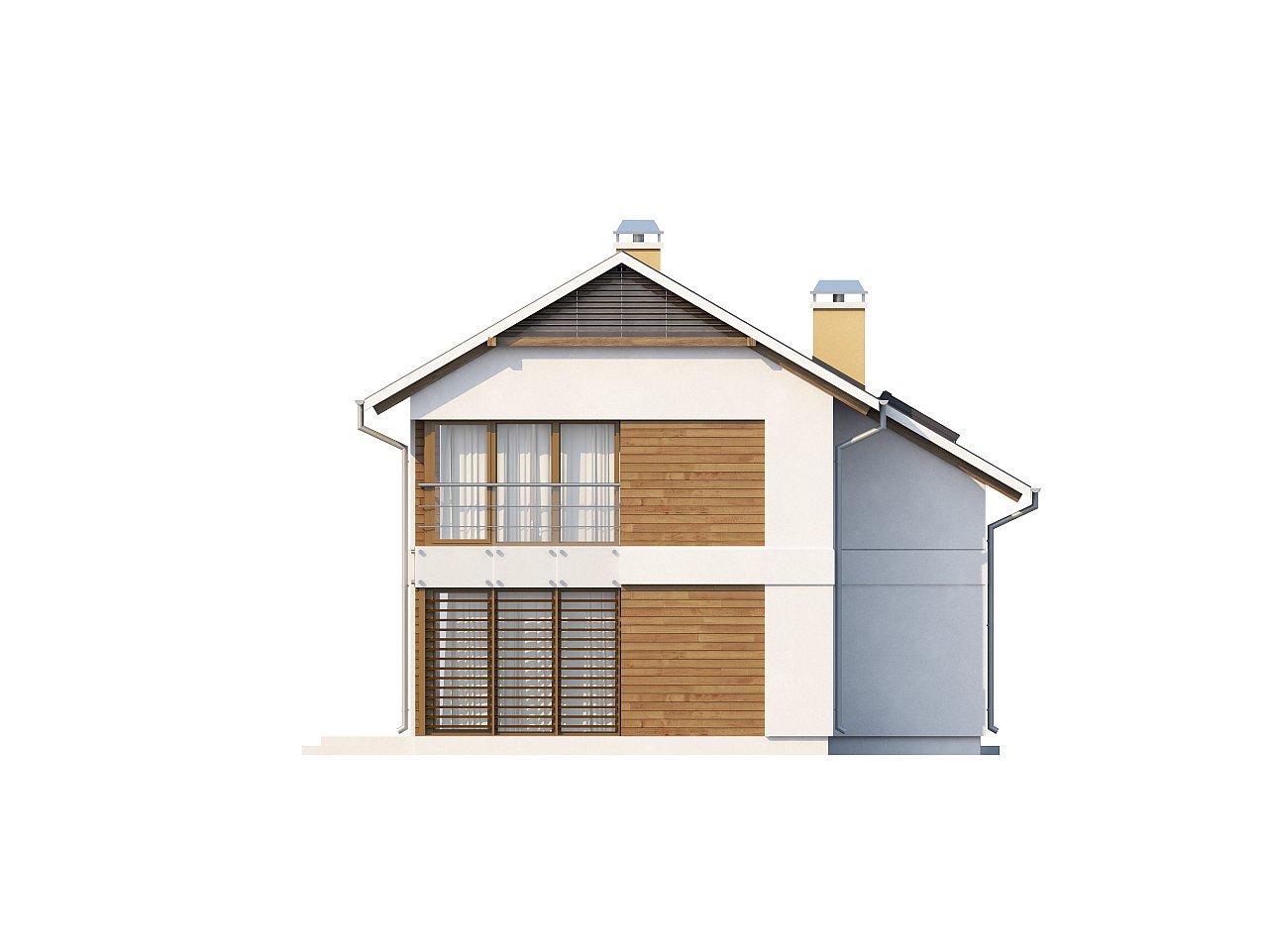 Компактный двухэтажный дом с большими окнами, подходящий для узкого участка. 4