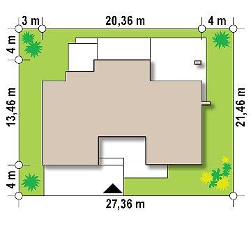 Современный двухэтажный дом с гаражом и террасой, спальней на первом этаже и ванной комнатой план помещений 1