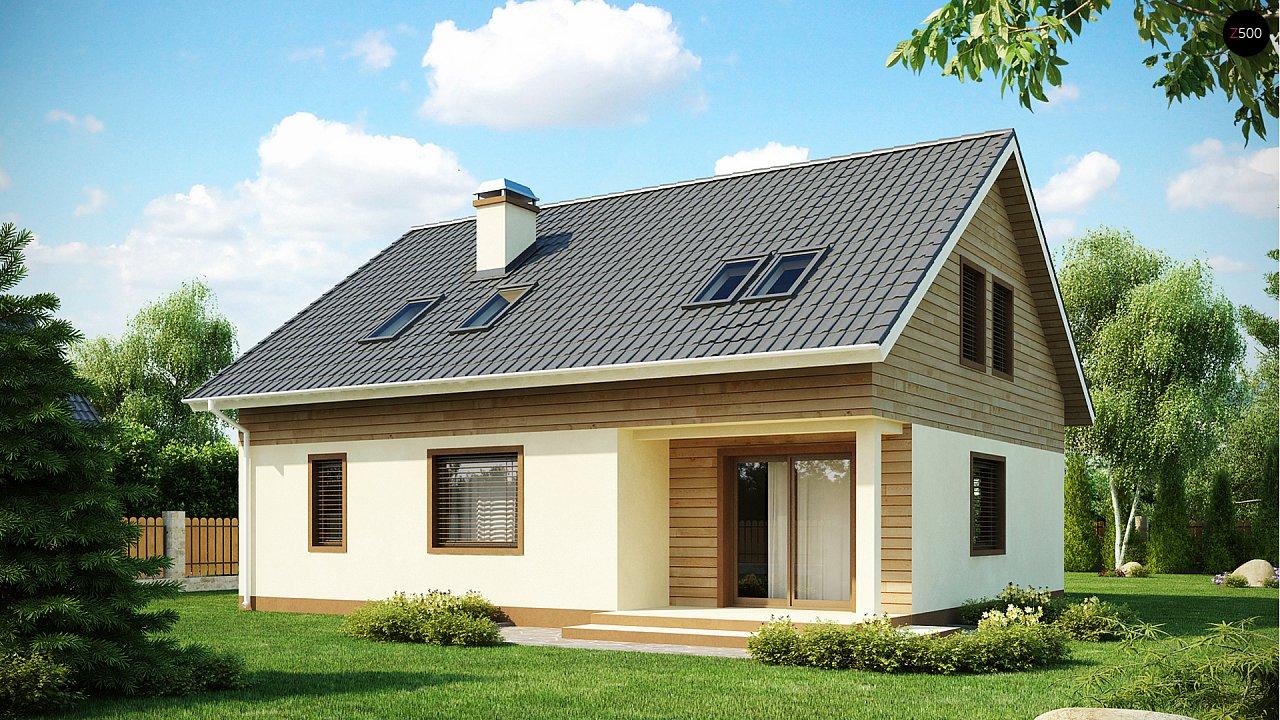 Проект традиционного дома с мансардой, со встроенным гаражом. 2