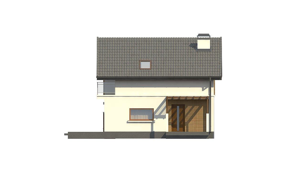 Проект дома с мансардой, с высокой аттиковой стеной, с дополнительной комнатой на первом этаже. 6