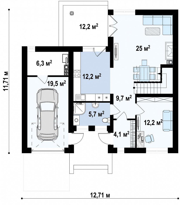 Вариант двухэтажного дома Zx24 c измененной планировкой план помещений 1