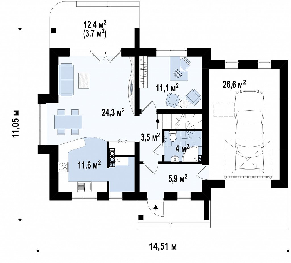 Версия проекта дома Z102 с гаражом, пристроенным справа. план помещений 1