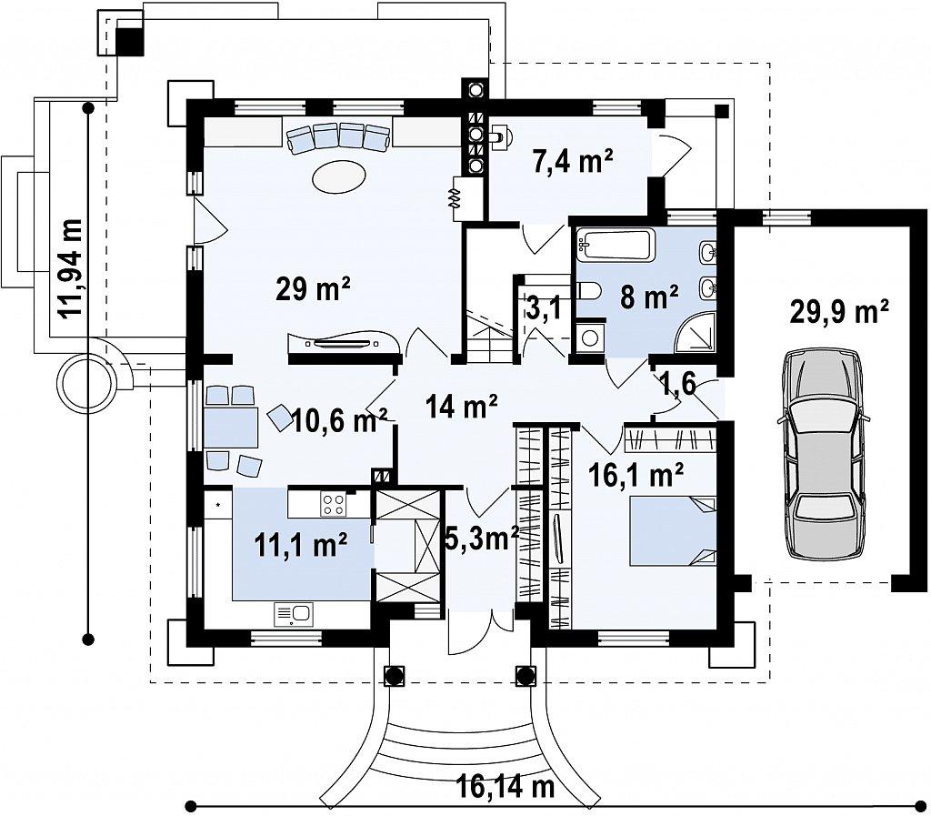 Удобный дом в классическом стиле с красивыми мансардными окнами и балконом. план помещений 1