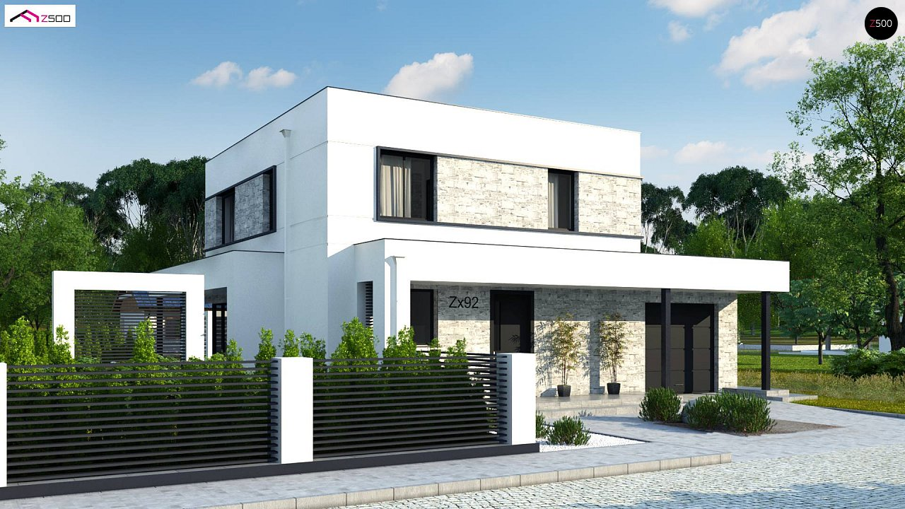 Проект двухэтажного дома с дополнительной комнатой на первом этаже и гаражом на один автомобиль. 1