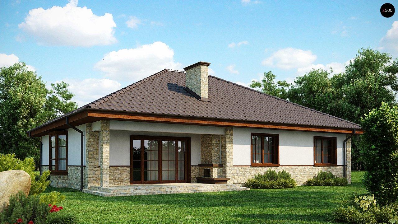 Одноэтажный дом с многоскатной кровлей, эркером и камином на террасе. - фото 1