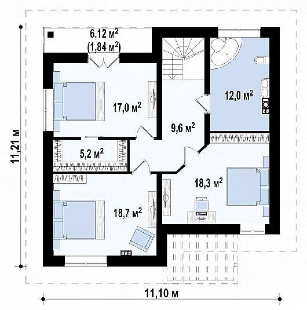 Вариант двухэтажного дома Zz1a с плитами перекрытия план помещений 2