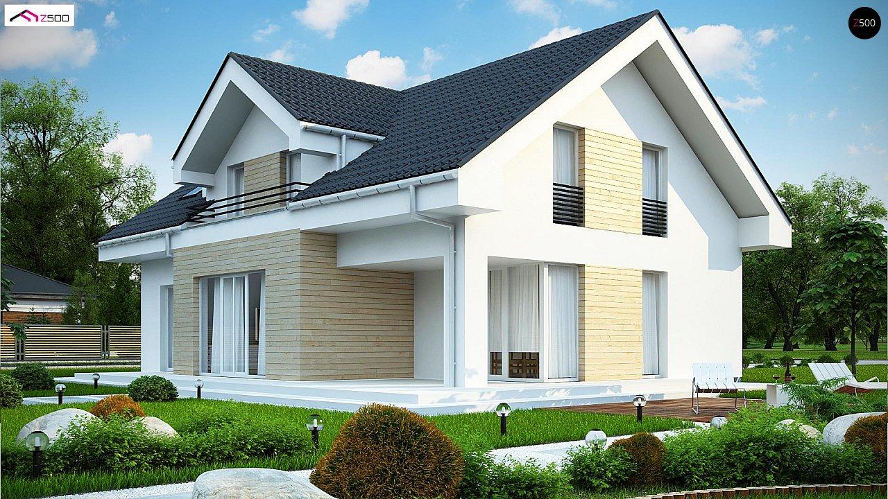 Проект мансардного дома в европейском стиле с балконом. - фото 4