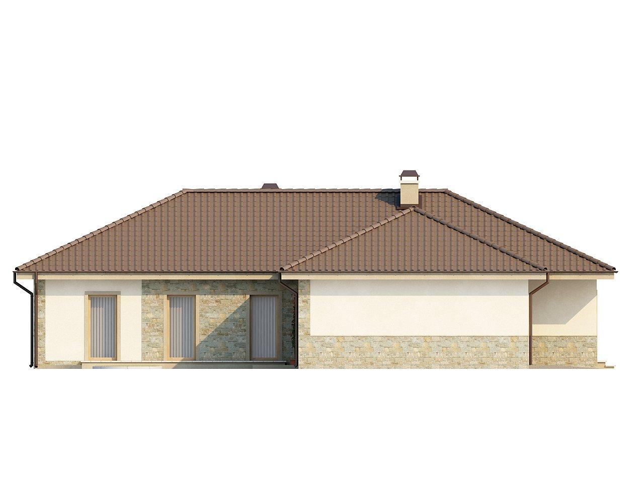 Одноэтажный дом в скандинавском стиле с дополнительной фронтальной террасой и гаражом на две машины. 5