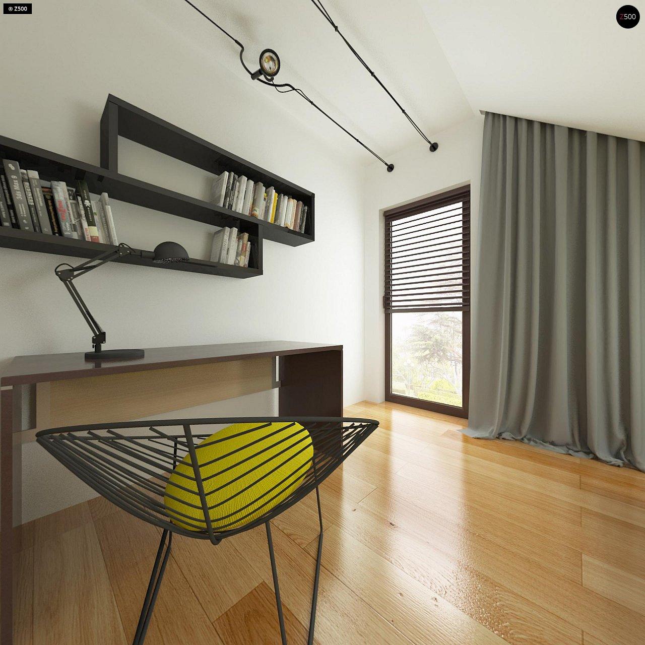Небольшой дом с дополнительной комнатой на первом этаже, большим хозяйственным помещением и эркером в столовой. 17