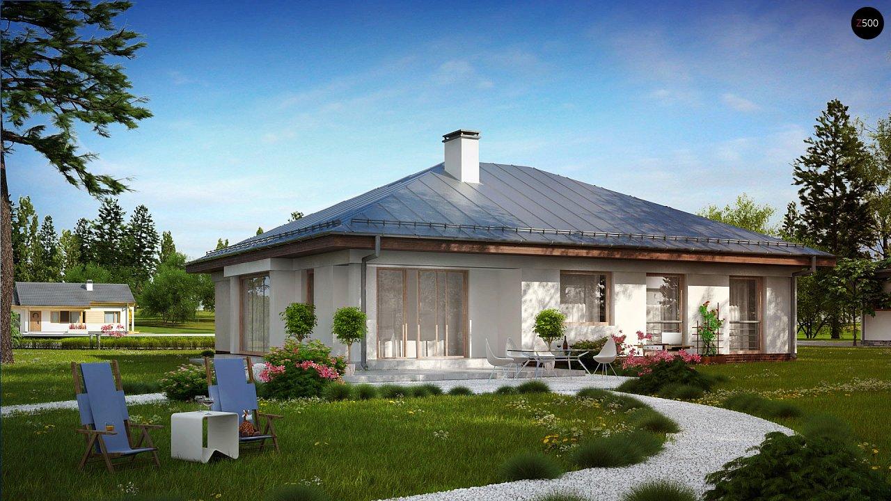 Функциональный одноэтажный дом с фронтальным гаражом для двух авто, большим хозяйственным помещением, с кухней со стороны сада. 3