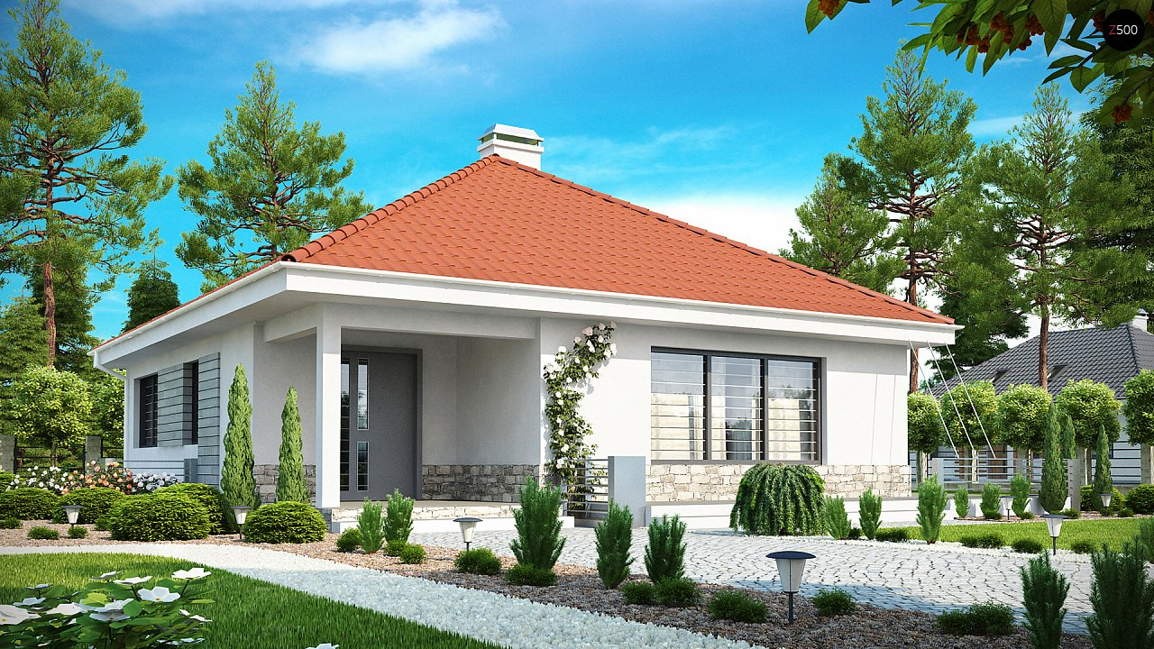 Проект компактного и функционального одноэтажного дома с фронтальным расположением дневной зоны. 1