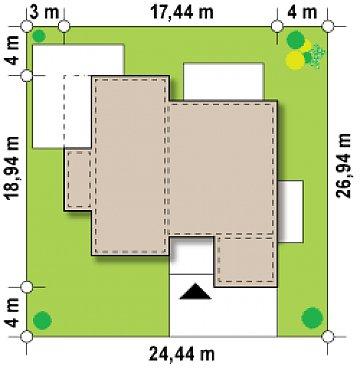 Вариант проекта Zx101 с гаражом для двух автомобилей. план помещений 1