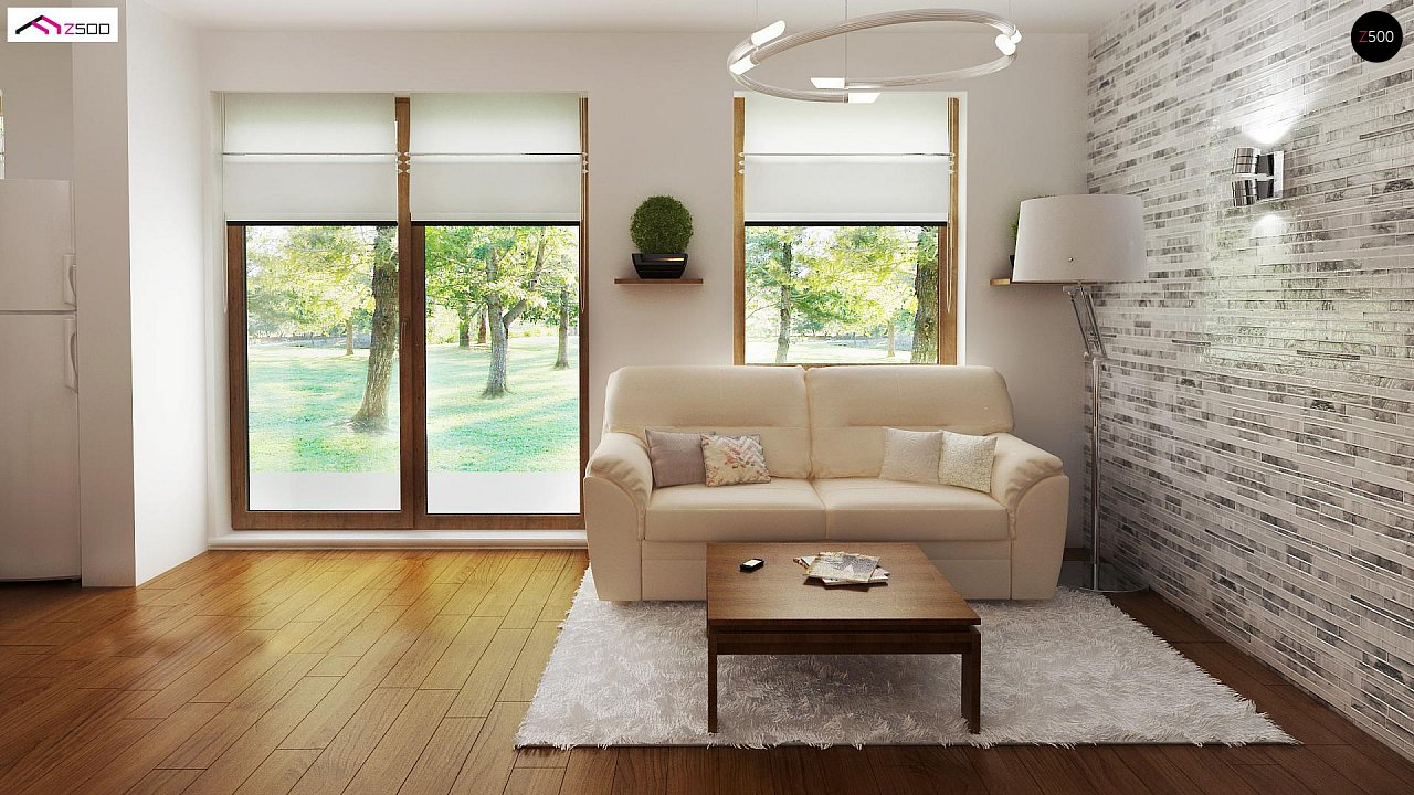 Выгодный в строительстве и эксплуатации маленький одноэтажный дом с крытой террасой. 5