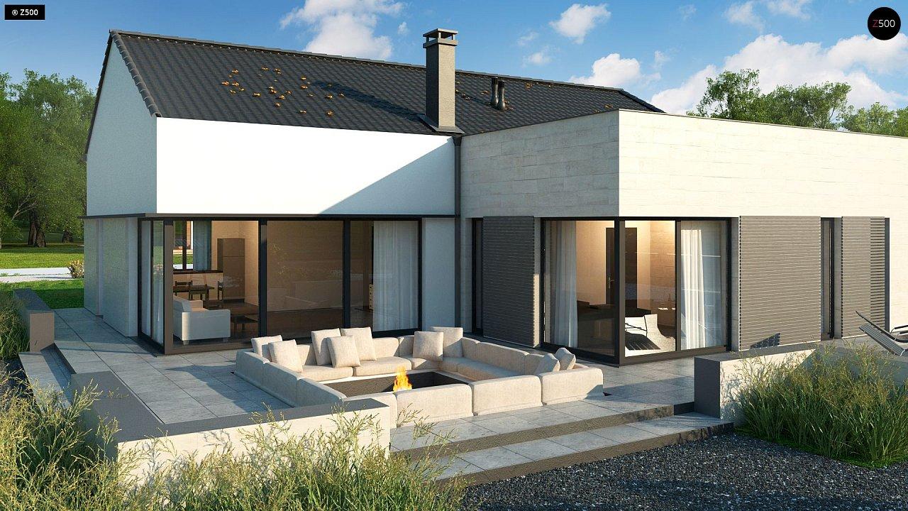 Проект одноэтажного дома Z390 с гаражом на 1 машину и красивым белым фасадом 4