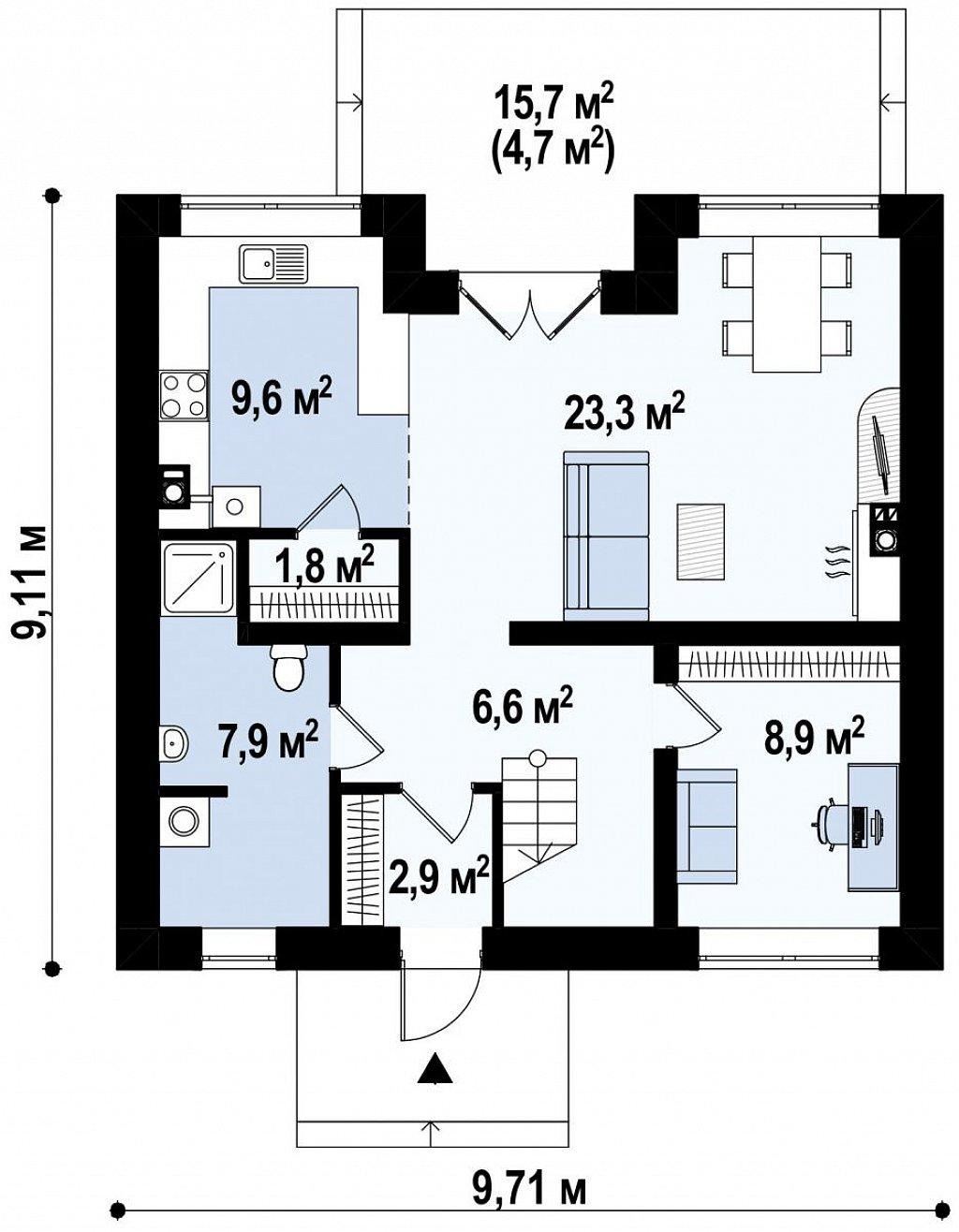 Стильный дом с мансардным окном и балконом, а также кухней со стороны сада. план помещений 1