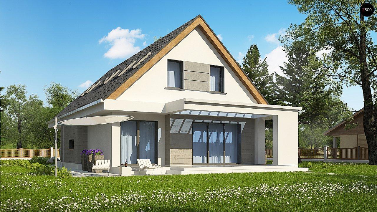 Проект классического мансардного дома с монохромным дизайном экстерьера 2