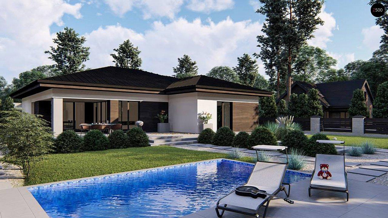 Современный одноэтажный дом с многоскатной крышей и гаражом на две машины. 6