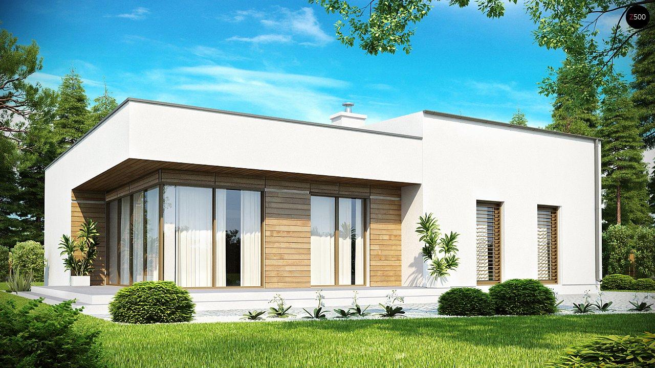 Современный функциональный дом с большой площадью остекления в гостиной. 1