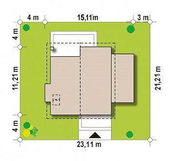 Проект мансардного дома в классическом стиле с гаражом на одно авто. план помещений 1