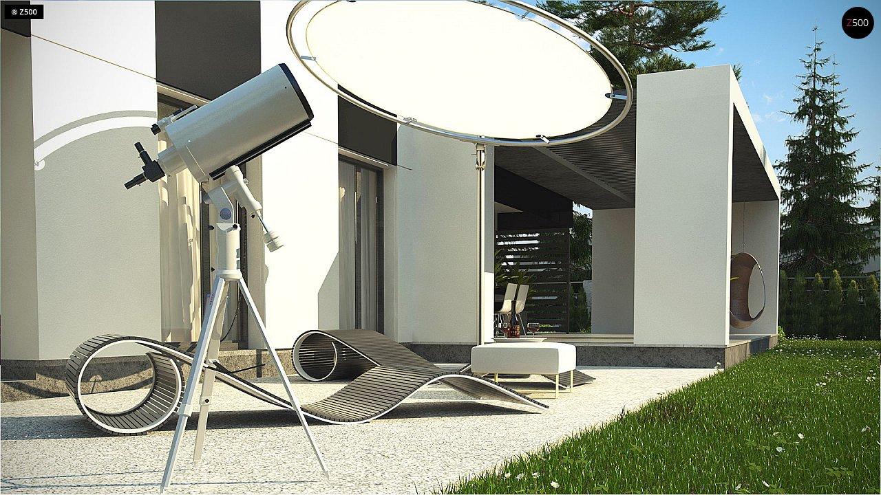 Проект современного одноэтажного дома с черно-белыми фасадами и открытым гаражом на 2 машины 8