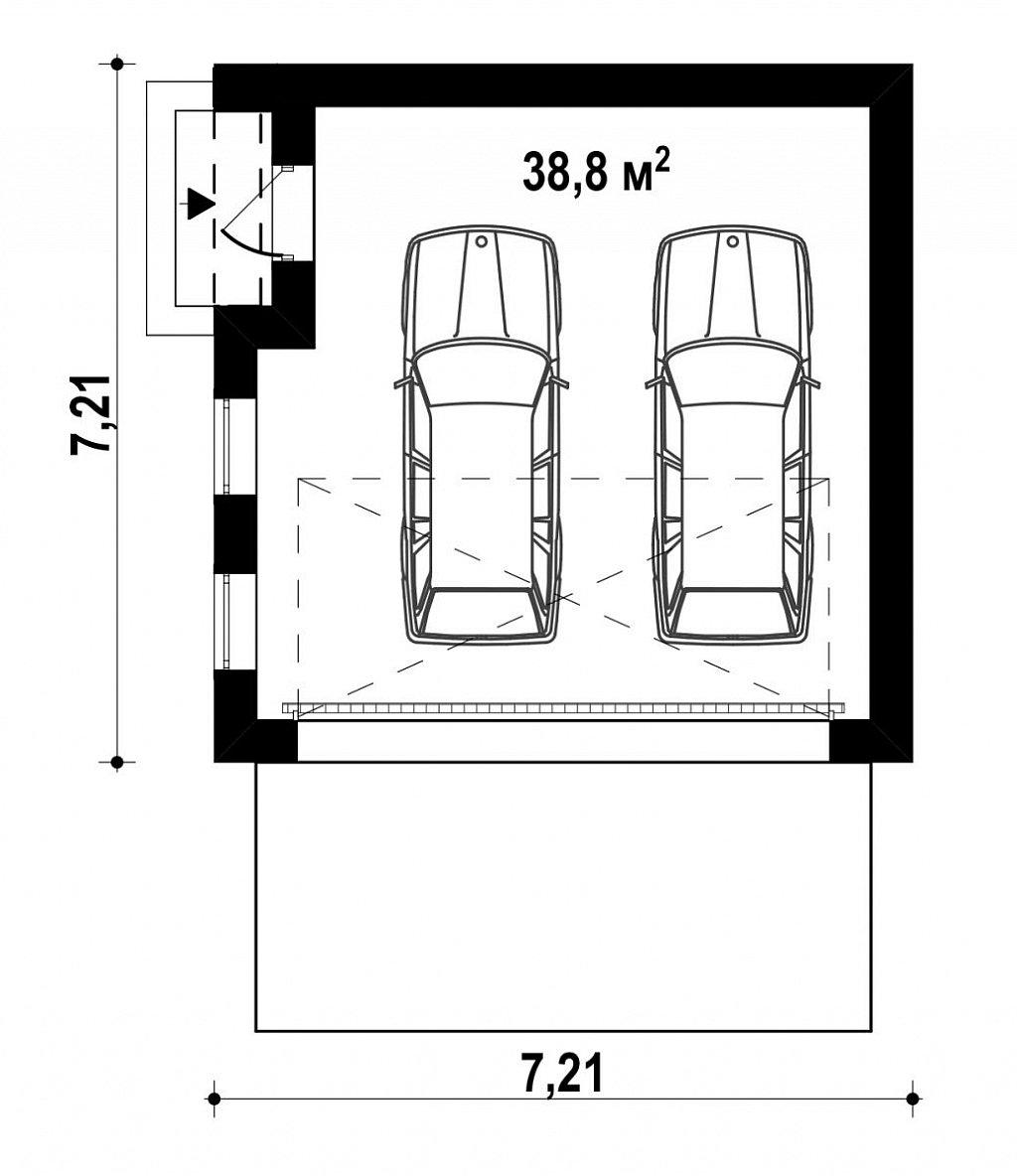 Современный проект просторного гаража для двух авто план помещений 1