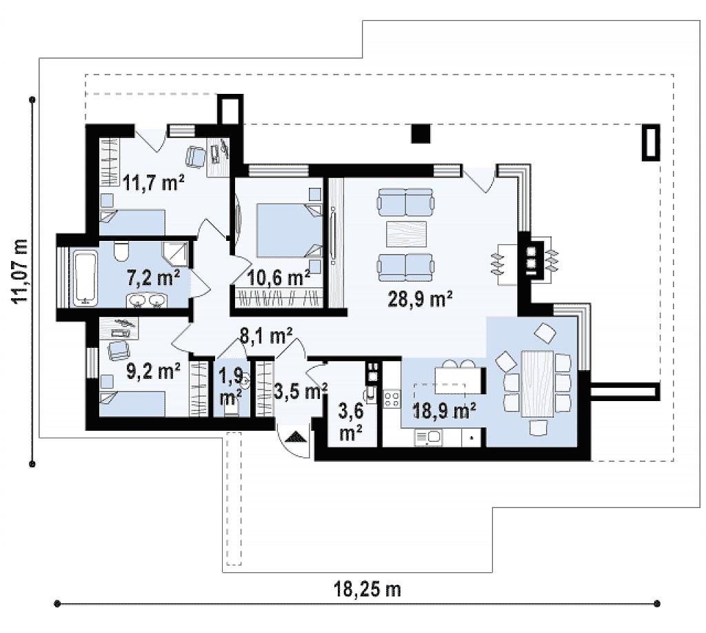 Одноэтажный дом в стиле хай-тек с плоской кровлей и большой площадью остекления. план помещений 1