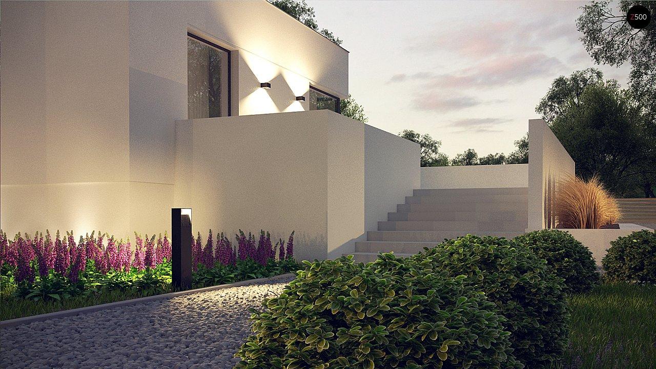 Современный проект с уникальным дизайном, оштукатуренным фасадом и гаражом 10