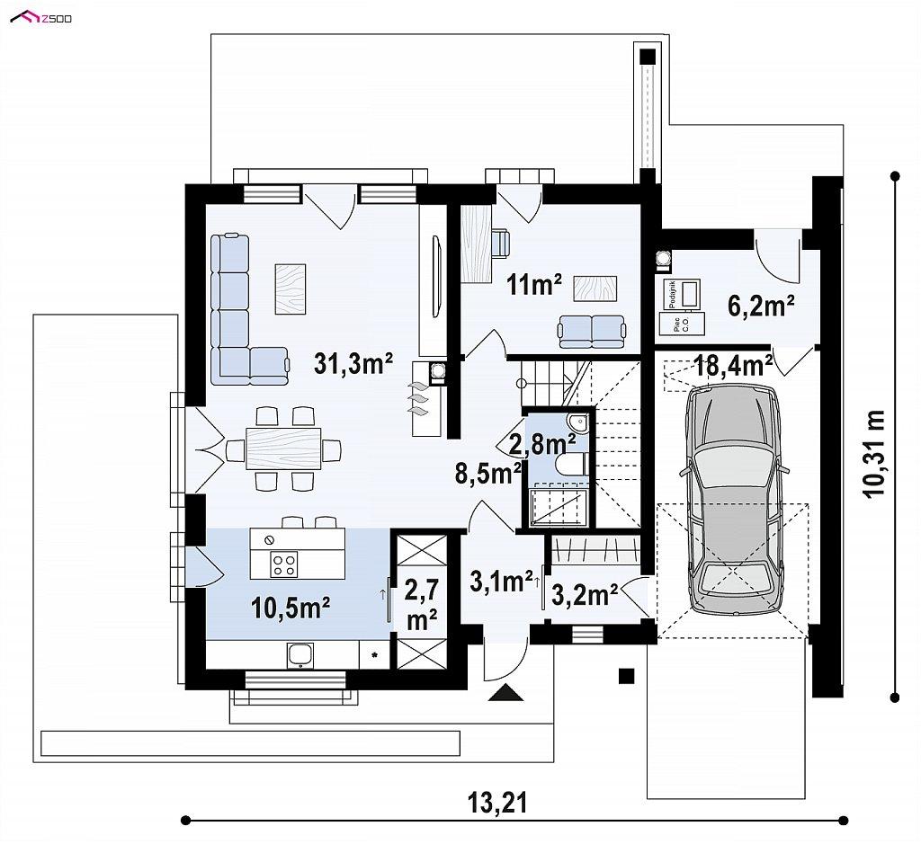 Проект двухэтажного дома с открытой дневной зоной и современным экстерьером. план помещений 1