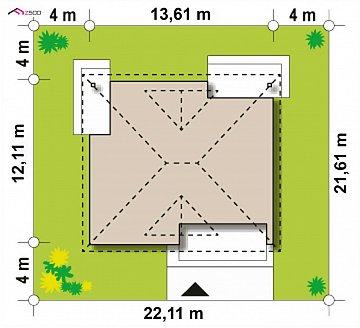 Проект комфортного одноэтажного дома с оригинальными фасадными окнами на чердаке. план помещений 1