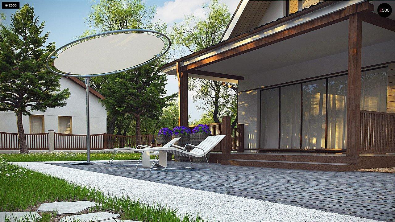 Небольшой мансардный дом с верандой, подойдет для строительства на узком участке. - фото 7