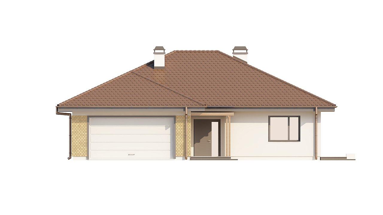 Проект удобного одноэтажного дома с гаражом для двух автомобилей и большим хозяйственным помещением. 21