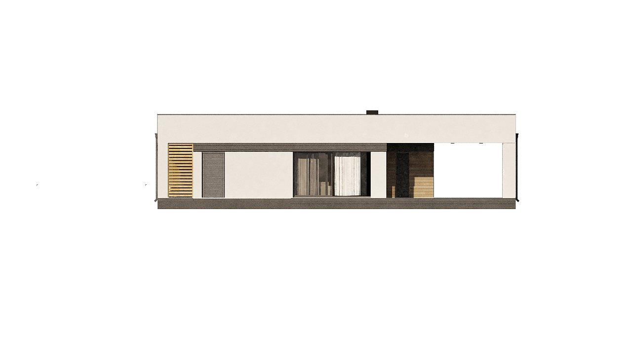 Современный одноэтажный дом хай-тек с навесом для автомобиля 20