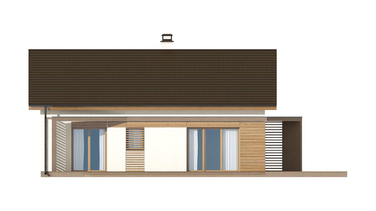 Небольшой одноэтажный дом с оригинальным оформлением террас. 17