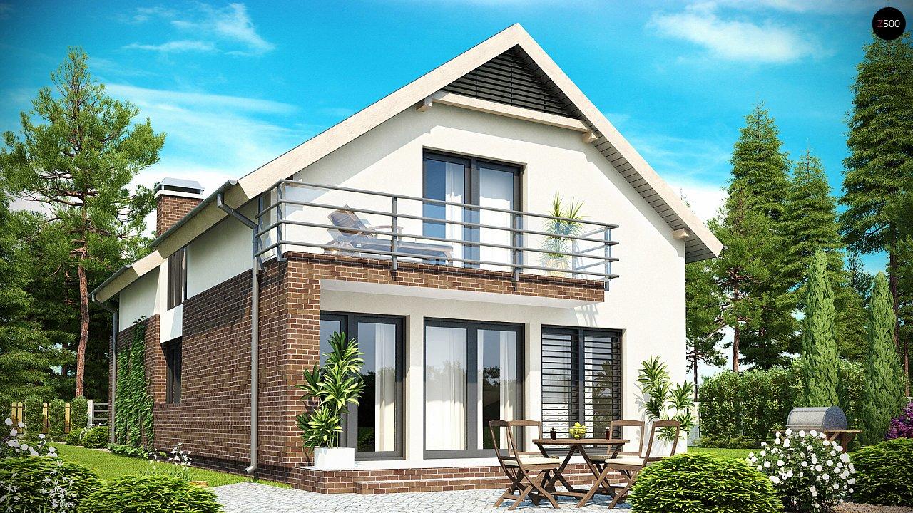 Дом в традиционном стиле с мансардой, со встроенным гаражом, подходящий для узкого участка. 2