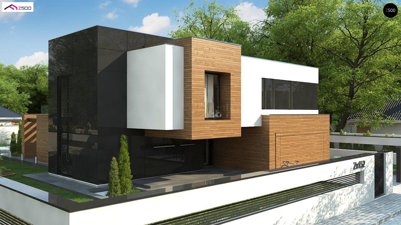 Двухэтажный коттедж с плоской крышей и большой террасой 4