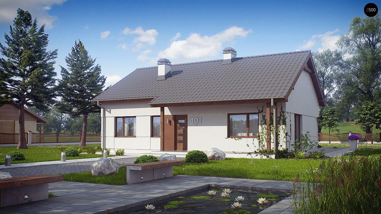 Компактный одноэтажный дом простой формы с возможностью обустройства чердачного помещения. 2