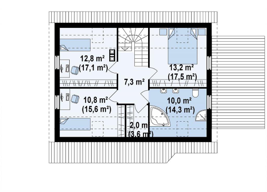 Проект дома с гостиной со стороны входа, боковой террасой и дополнительной спальней на первом этаже. план помещений 2