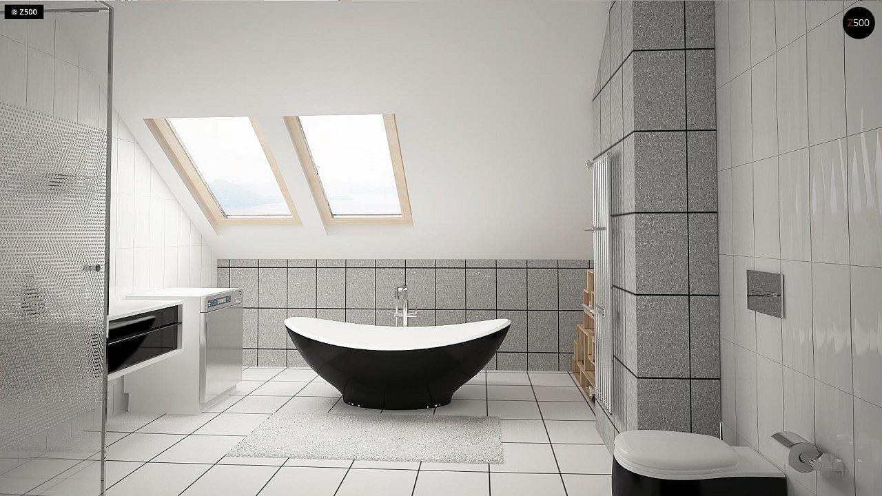 Проект аккуратного мансардного дома, с современным дизайном фасадов. 11