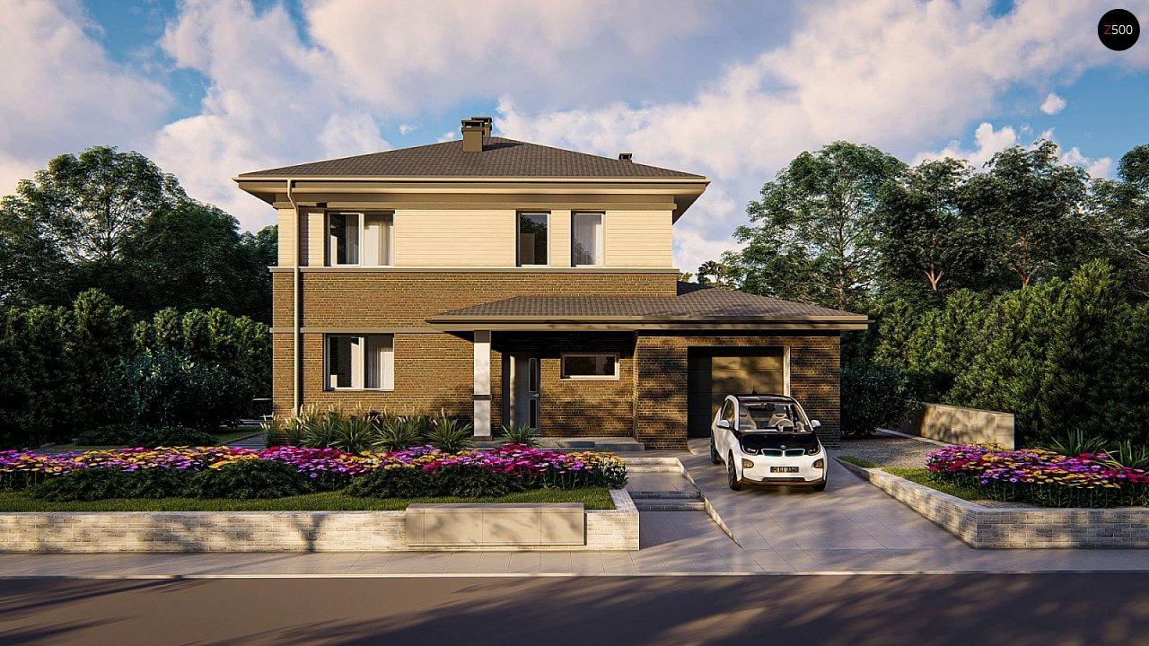 Проект двухэтажного дома на фасаде с клинкерным кирпичом - фото 5